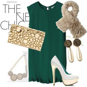 グリーンのドレスの差し色コーディネート参考画像1
