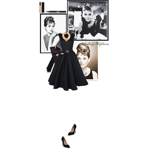 フィット&フレアのリトル・ブラック・オードリー・ドレススタイル2