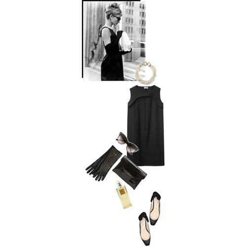 ミディアム丈のリトル・ブラック・オードリー・ドレススタイル5