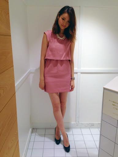 ピンクのセットアップ風フレンチスリーブパーティードレス万能色参考コーディネート画像18