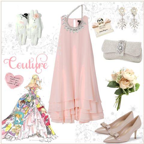 ピンクのノースリーブバイカラーフレアパーティードレス万能色参考コーディネート画像20