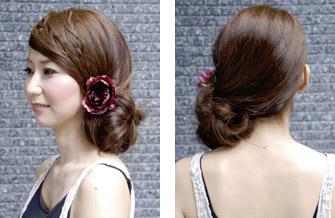 自分で簡単にできる髪型 ロングヘアのハーフアップサイドまとめ髪アレンジ4-2-2