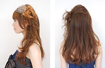 自分で簡単にできる髪型 ロングヘアのハーフアップサイドまとめ髪アレンジ4-3-2