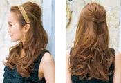 自分で簡単にできる髪型 ロングヘアのハーフアップねじりアレンジ2-1-2