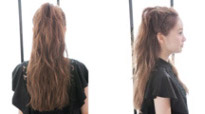 自分で簡単にできる髪型 ロングヘアのハーフアップねじりアレンジ2-3-2