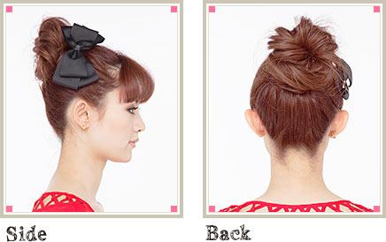 自分でできる髪型 ロングヘアのお団子アップスタイル2-4-2