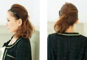 自分でできる髪型 ミディアムヘアねじるハーフアップスタイル3-3-1