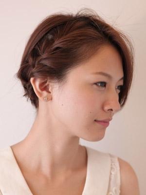 自分でできる髪型 ミディアムヘア編み込みハーフアップスタイル4-5-2