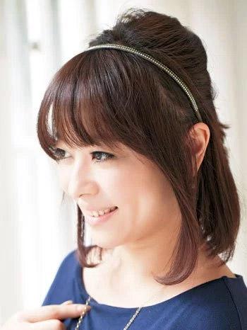 自分でできる髪型 ミディアムヘアねじるハーフアップスタイル2-6-1