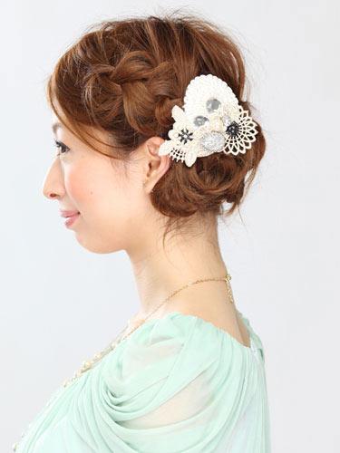 自分でできる髪型 ミディアムヘア編み込みアップスタイル2-1-2