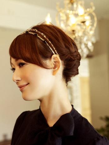 自分でできる髪型 ミディアムヘア編み込みアップスタイル2-2-1