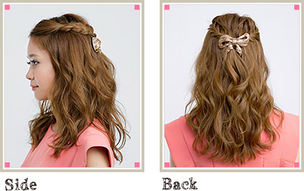 自分でできる髪型 セミロングヘアの編み込みハーフアップスタイル3-3-2