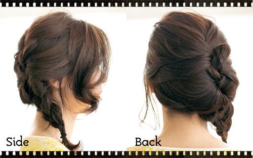 自分でできる髪型 セミロングヘアの編み込みハーフアップスタイル3-8-2