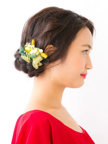 自分でできる髪型 セミロングヘアの編み込みアップスタイル1-5-2