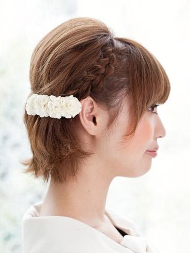 自分でできる髪型 ショート・ボブヘア編み込みハーフアップアレンジ2-4-2