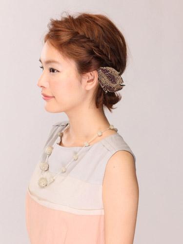 自分でできる髪型 ショート・ボブヘア編み込みハーフアップアレンジ2-1-2
