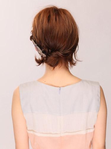 自分でできる髪型 ショート・ボブヘア編み込みハーフアップアレンジ2-1-3