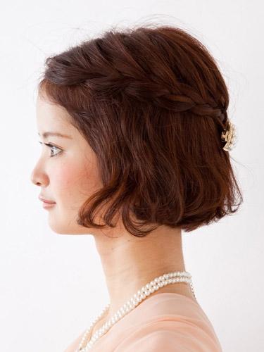 自分でできる髪型 ショート・ボブヘア編み込みハーフアップアレンジ2-2-2