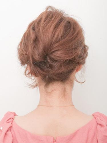 自分でできる髪型 ショートヘア夜会巻きアップスタイル1-3